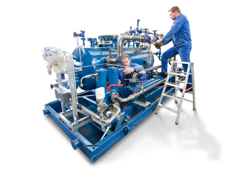 Pipeline construction and pipework for pressure systems and plants